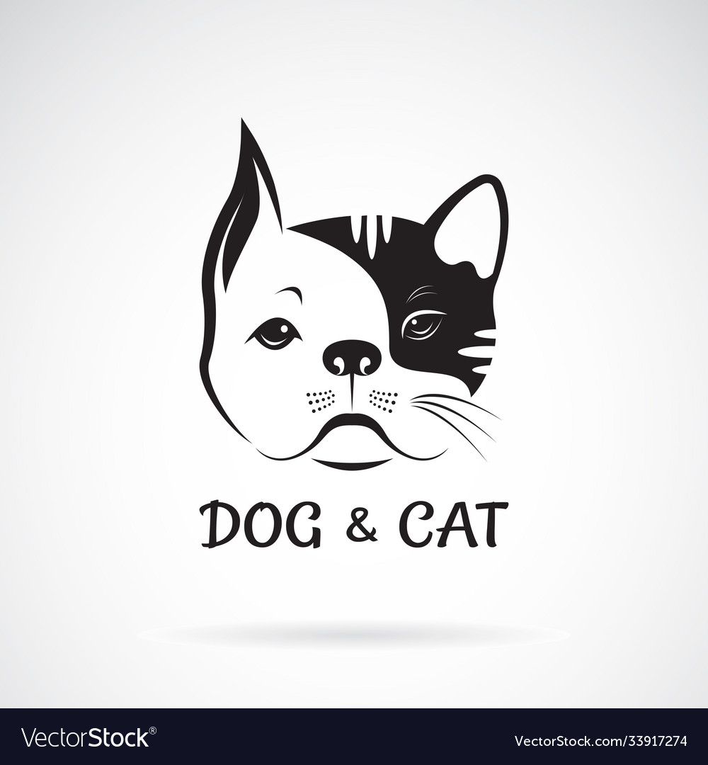Dog face and cat face design on a white