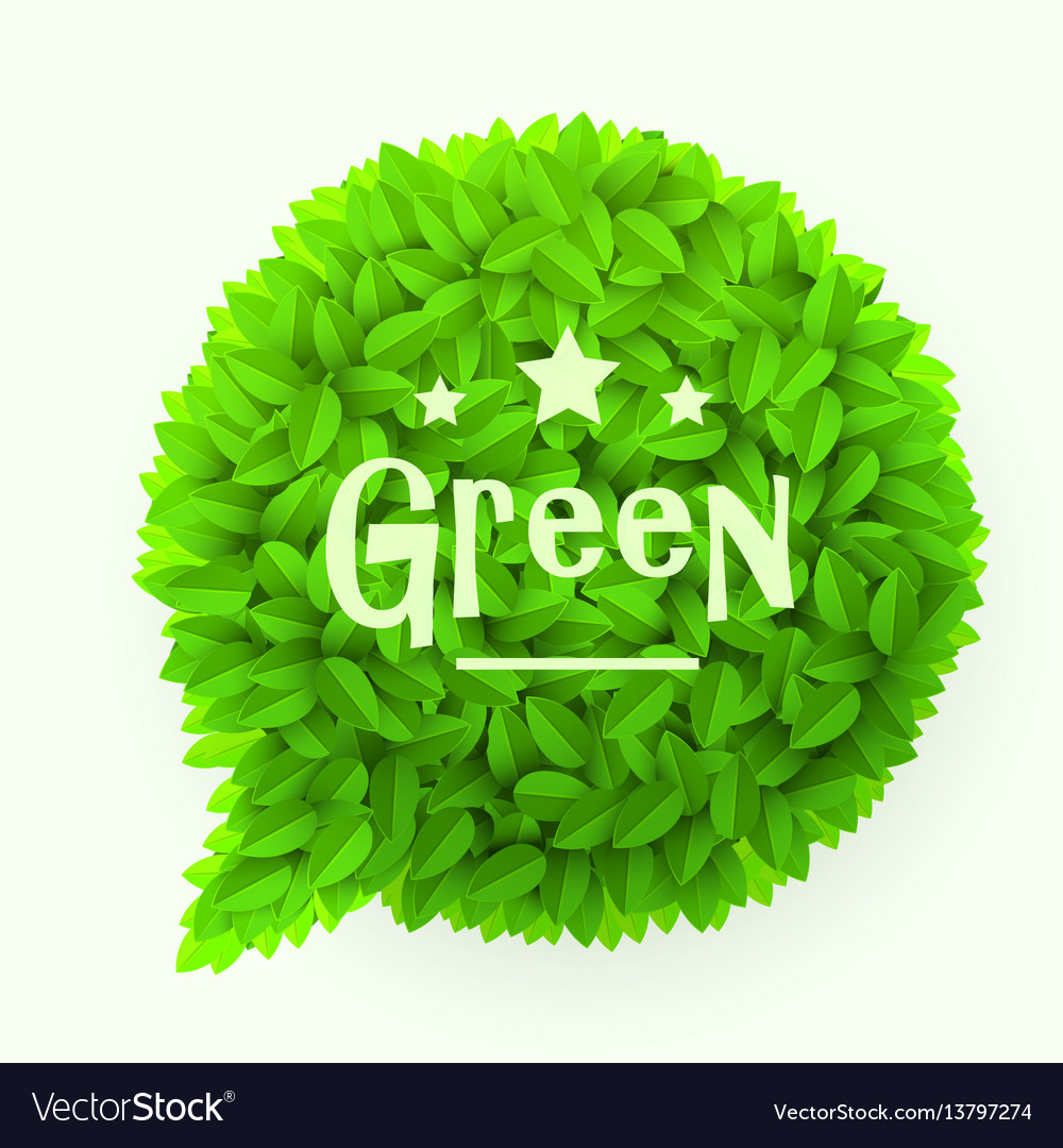 Green leaves circle speech bubble isolated on