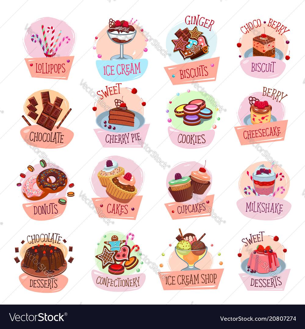 Pastry shop desserts cakes ice cream icons