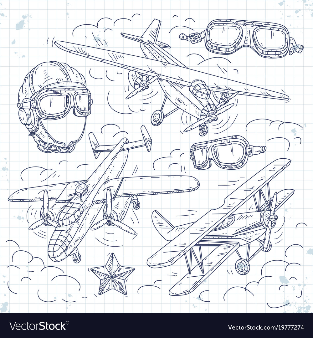 Retro biplane set icons old aircraft on a