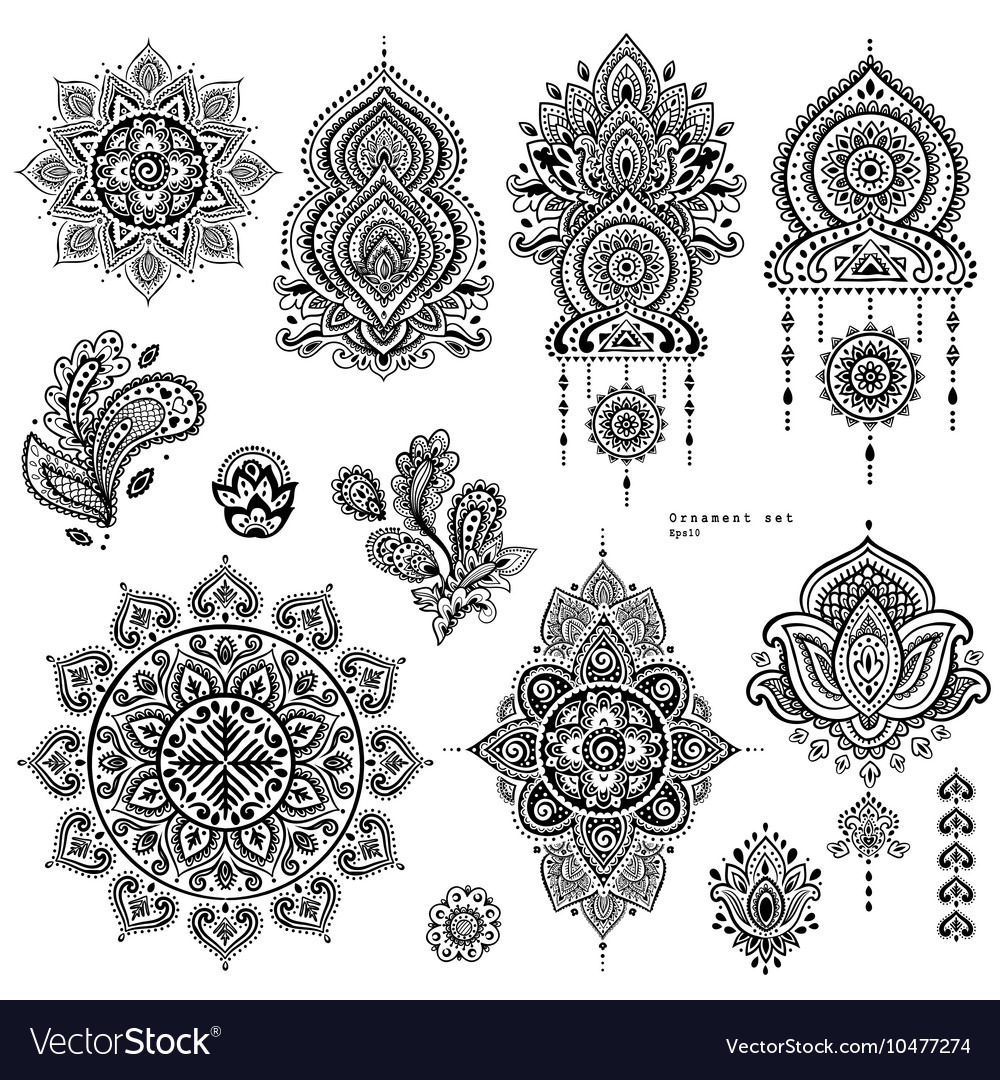 Set indian floral paisley ornaments