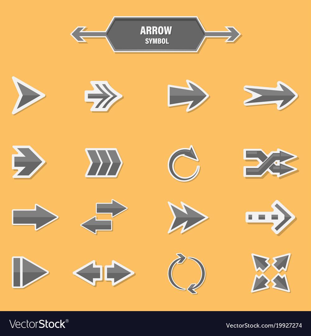 Set of arrow symbol on a orange background