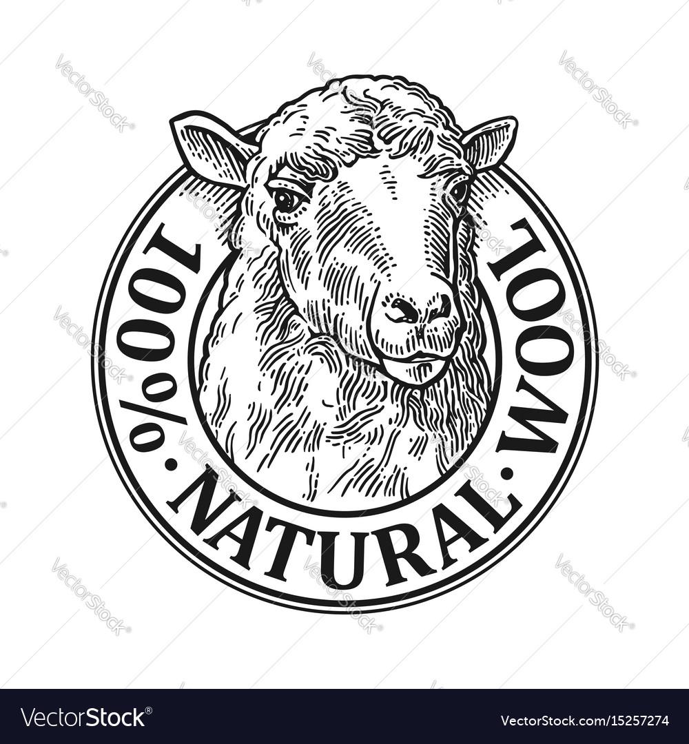 Sheep head 100 natural wooll lettering vintage