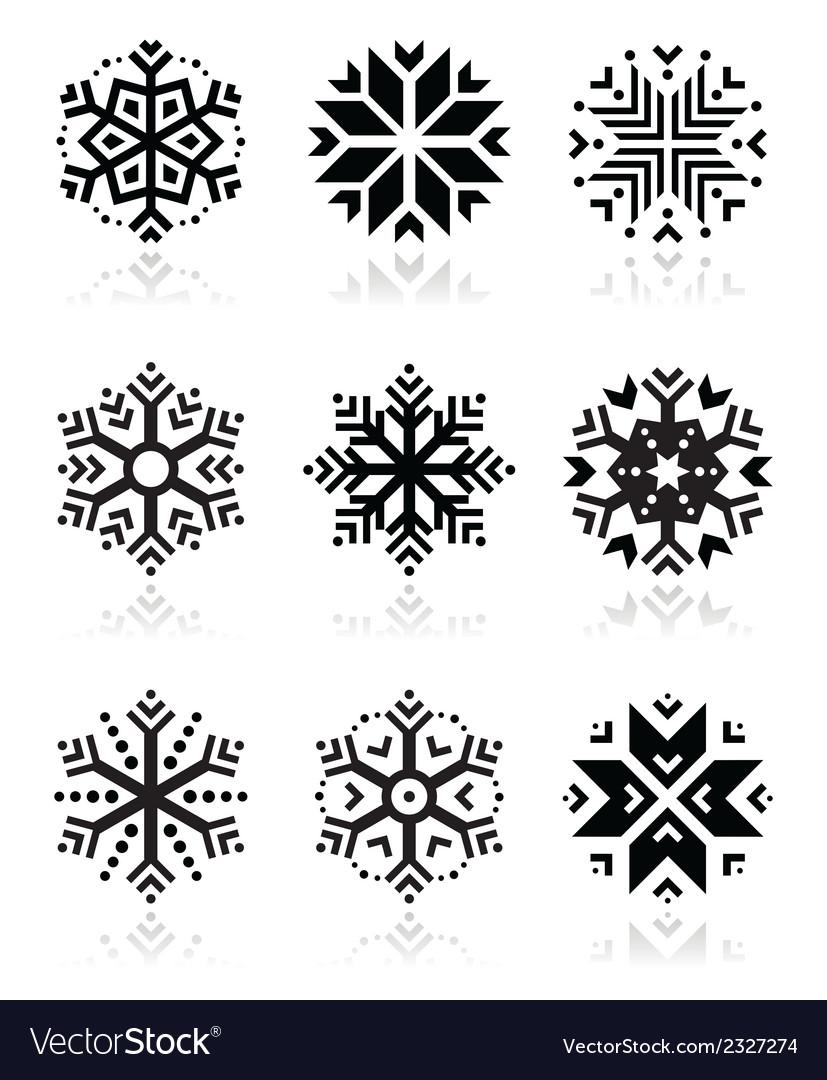 Snowflakes icon set on black and white background
