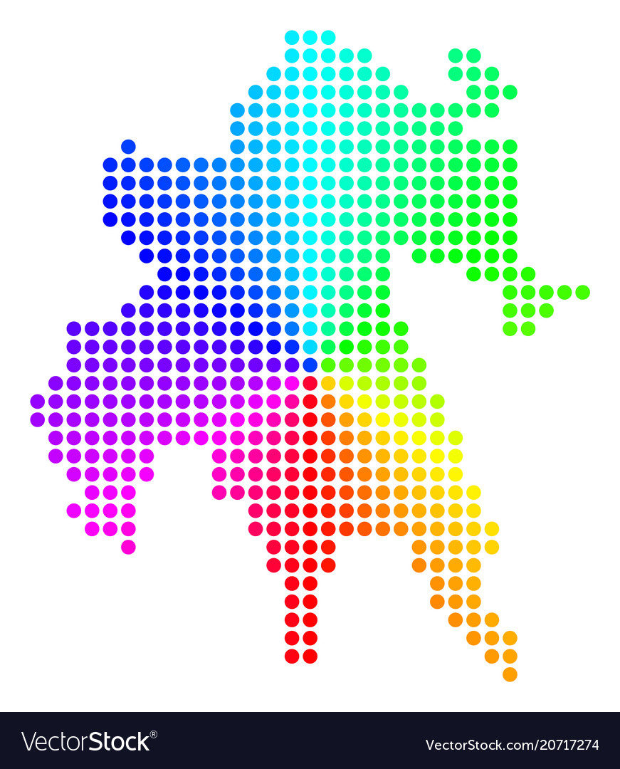 Spectral Circle Dot Peloponnese Half Island Map Vector Image