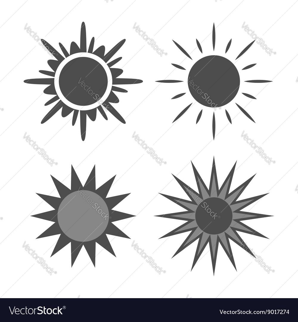 Sun icons set gray isolated white