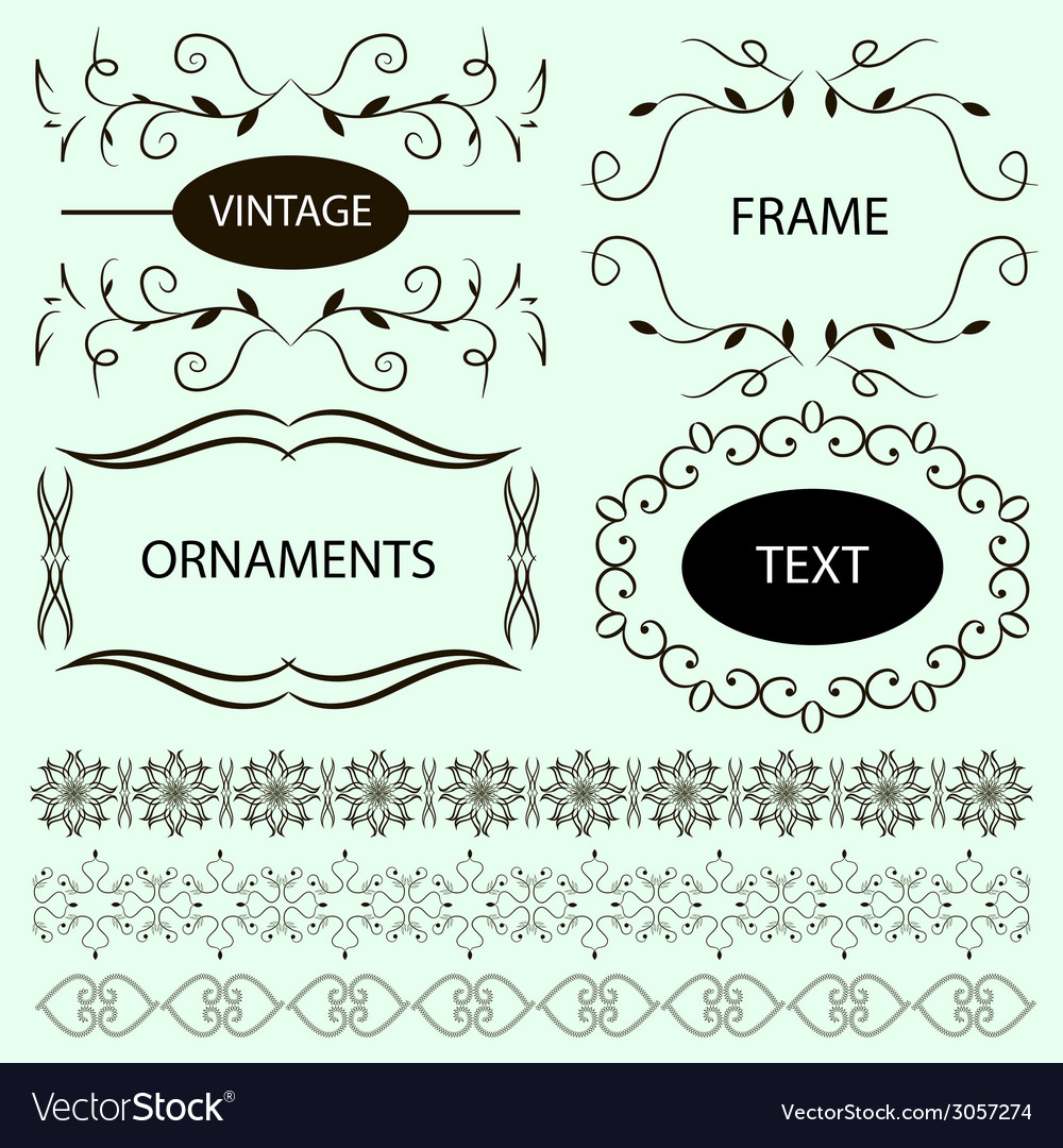 Vintage ornaments and dividers frame