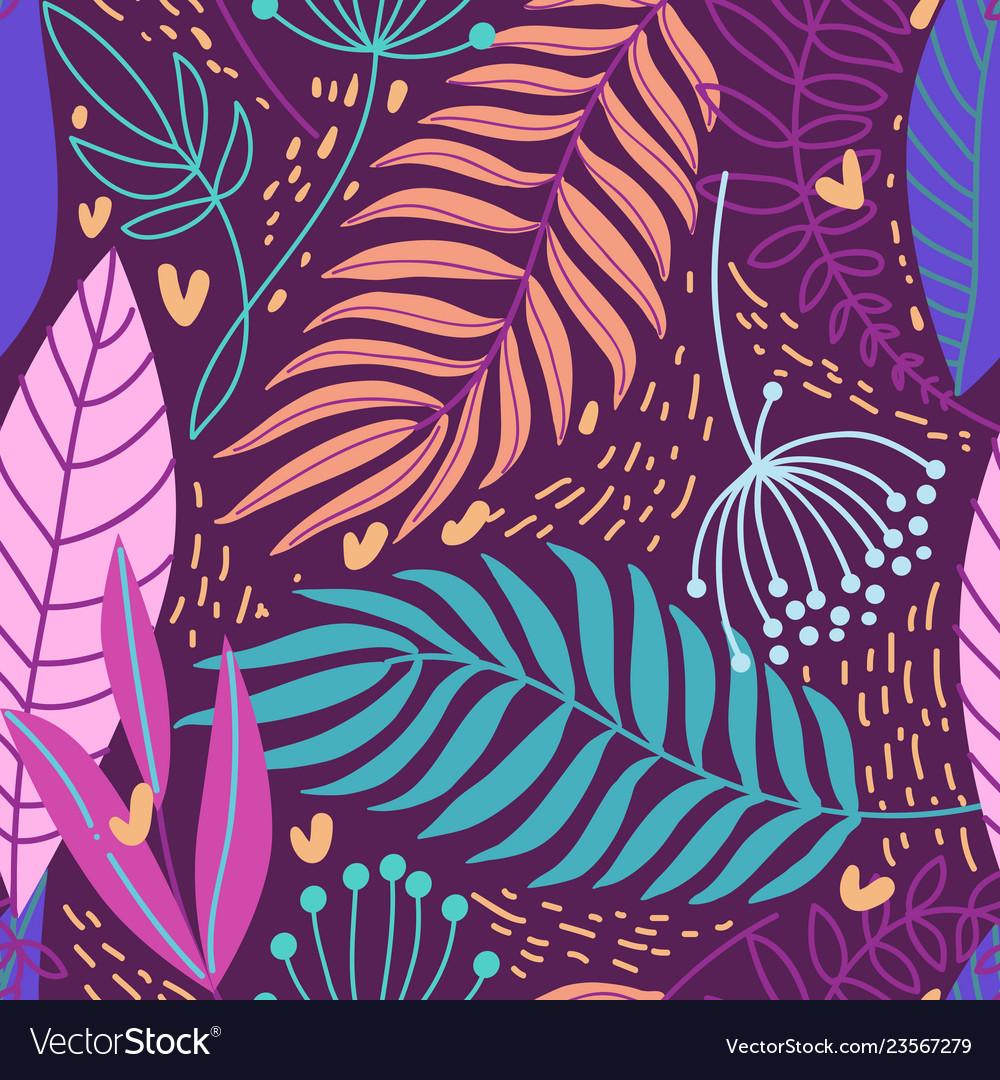 Beautiful hand drawn plants seamless pattern