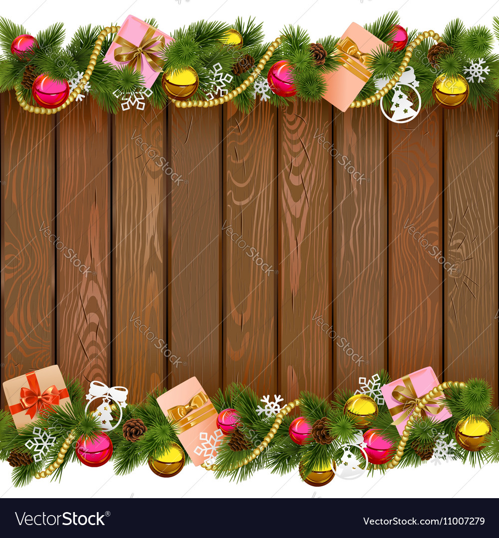 Christmas Board Design.Christmas Border With Gifts On Wooden Board