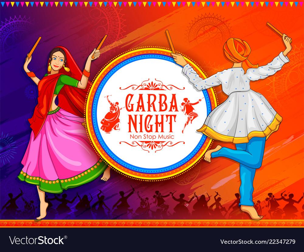 Couple playing dandiya in disco garba night poster