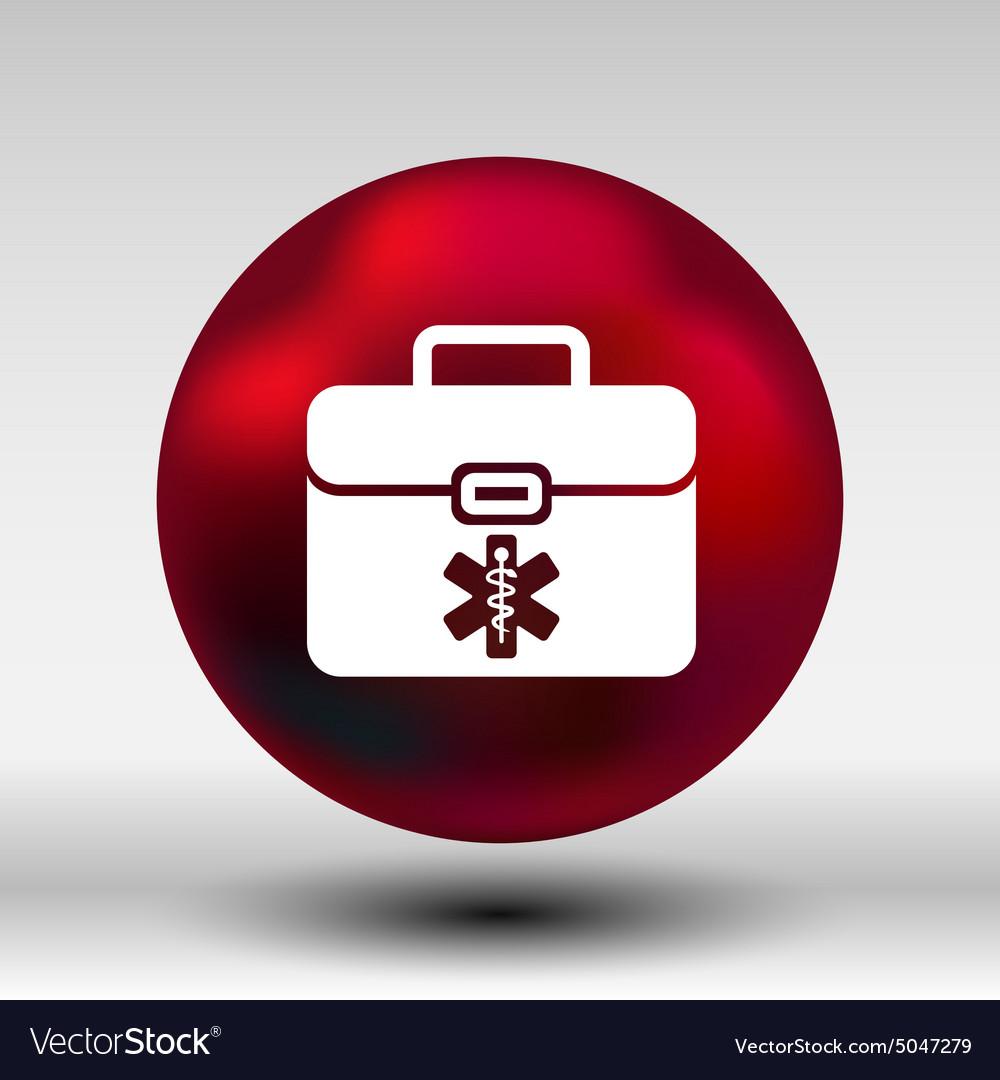 First aid icon kit medical box cross symbol