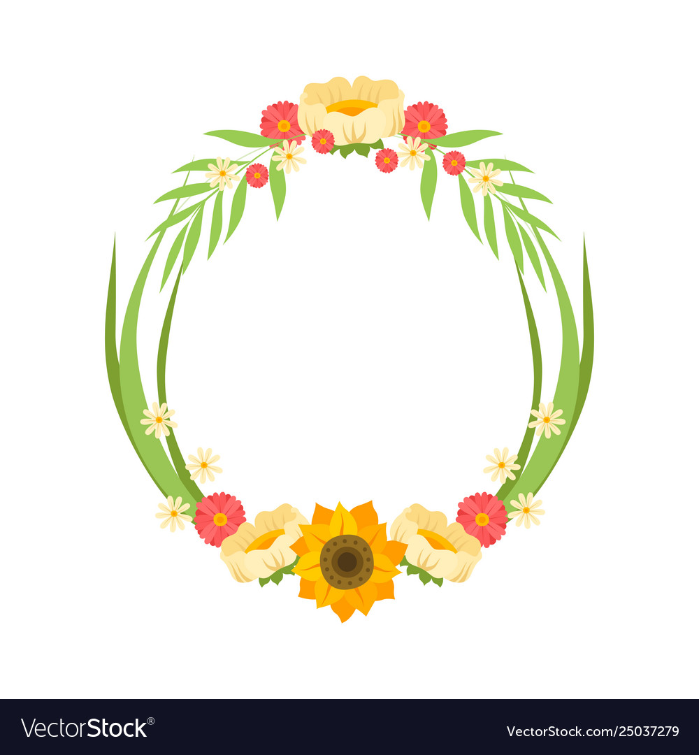 Floral wreath with flowers circle frame