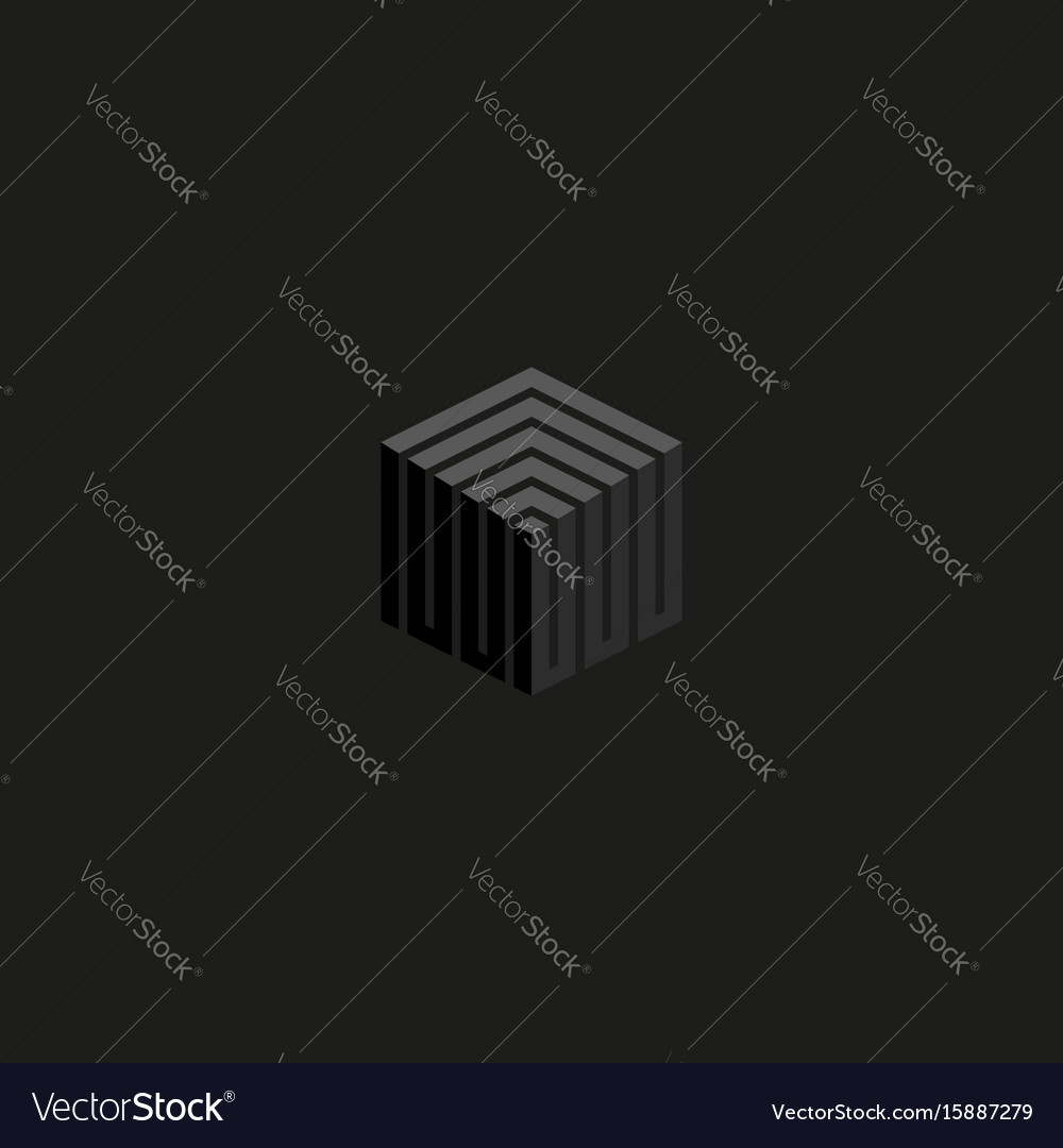 Isometric cube logo perspective lines construction vector image