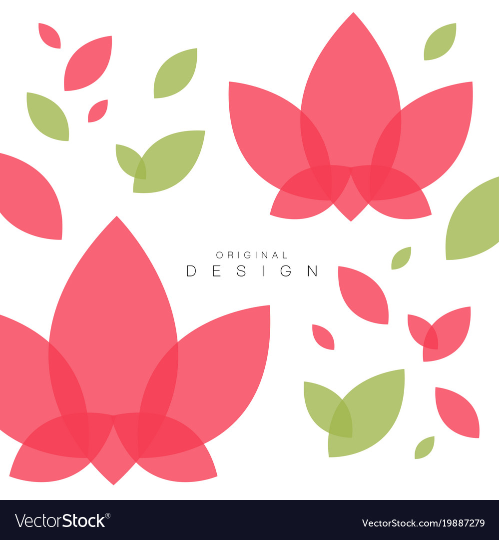 lotus flowers and leaves card with traditional vector image