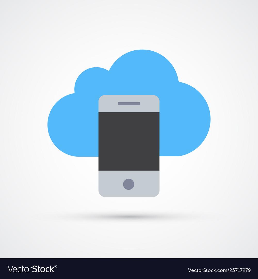 Phone cloud trendy symbol trendy colored