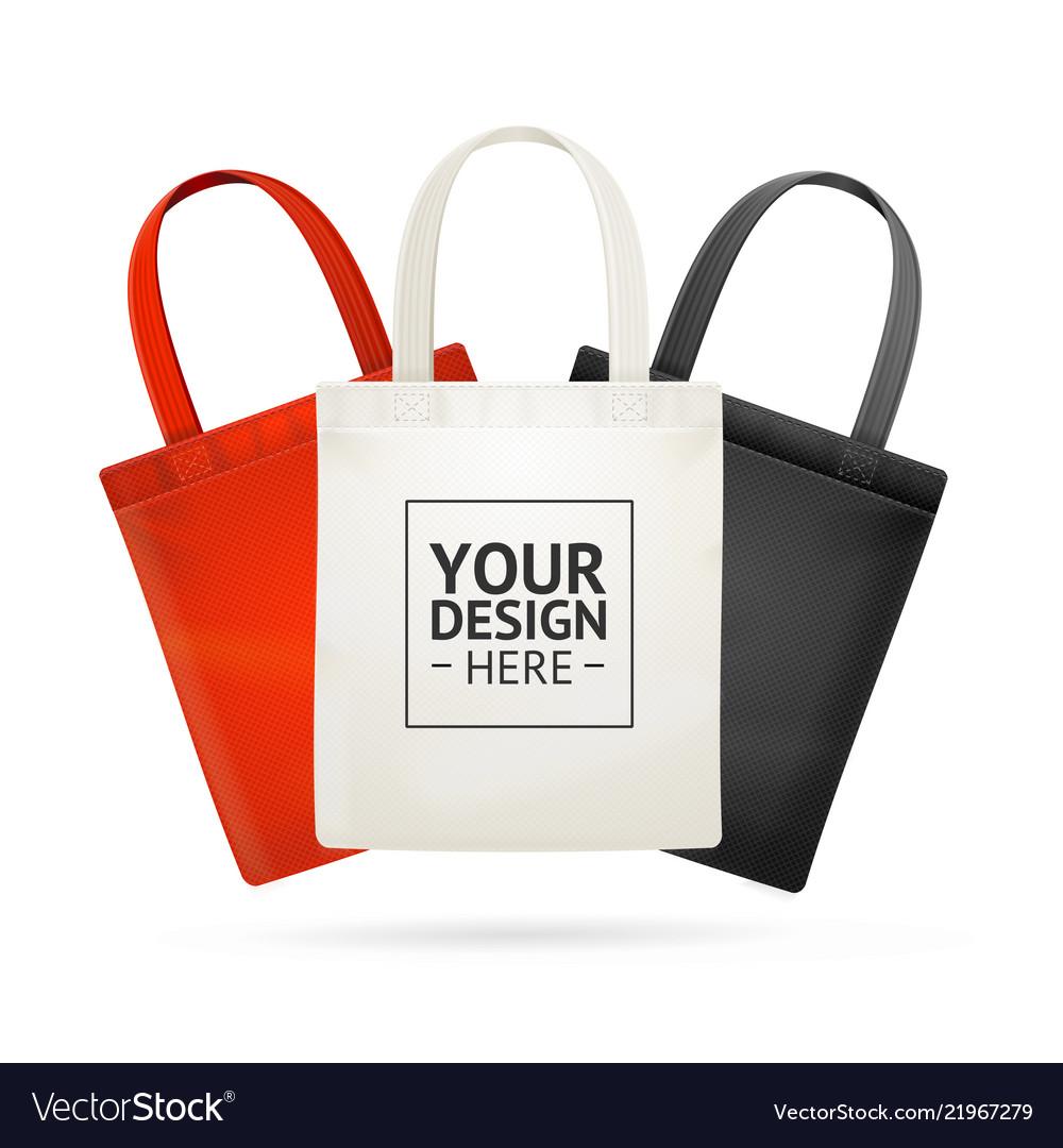 Realistic detailed 3d tote bag color set