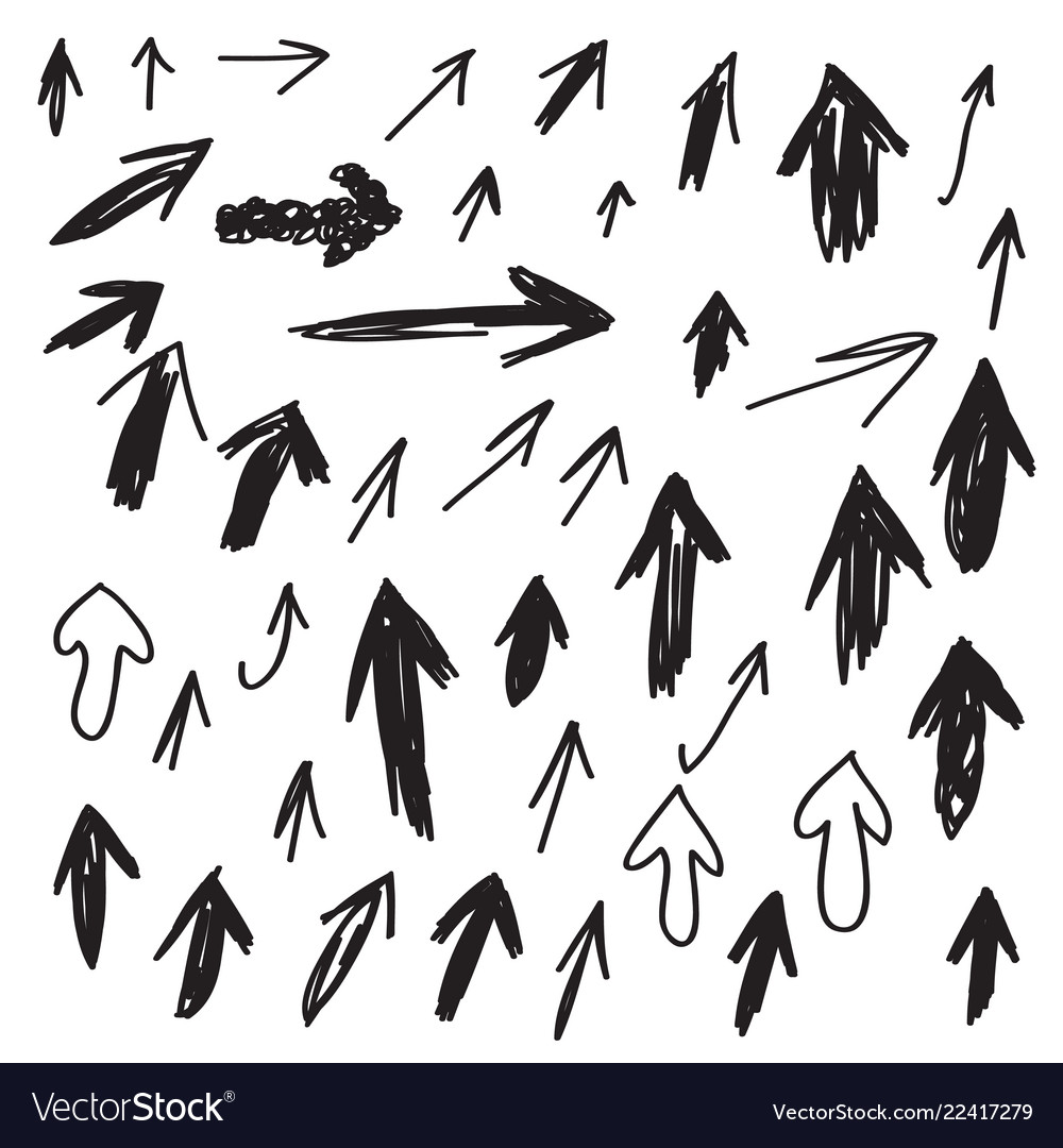 Set of scribbled arrows collection of