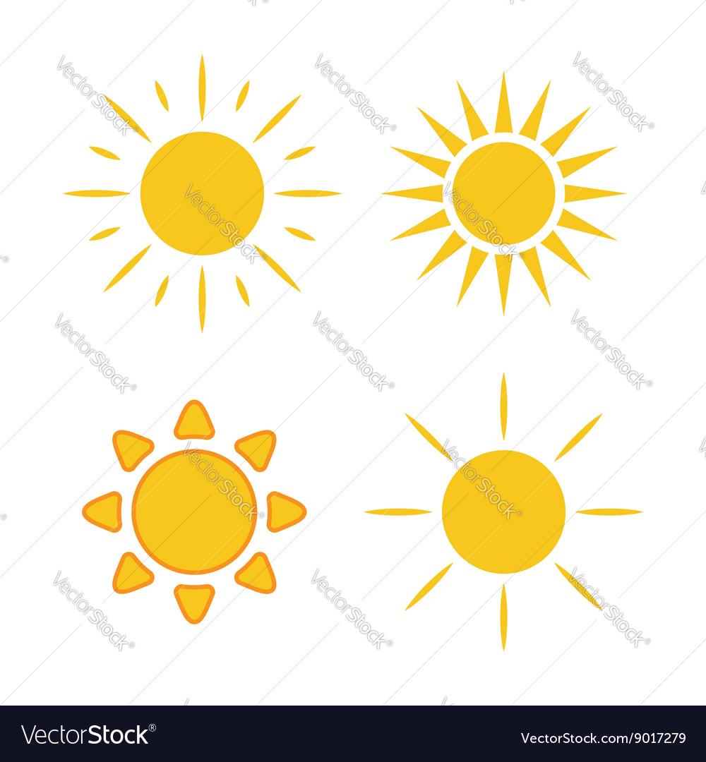 Sun icons set white light