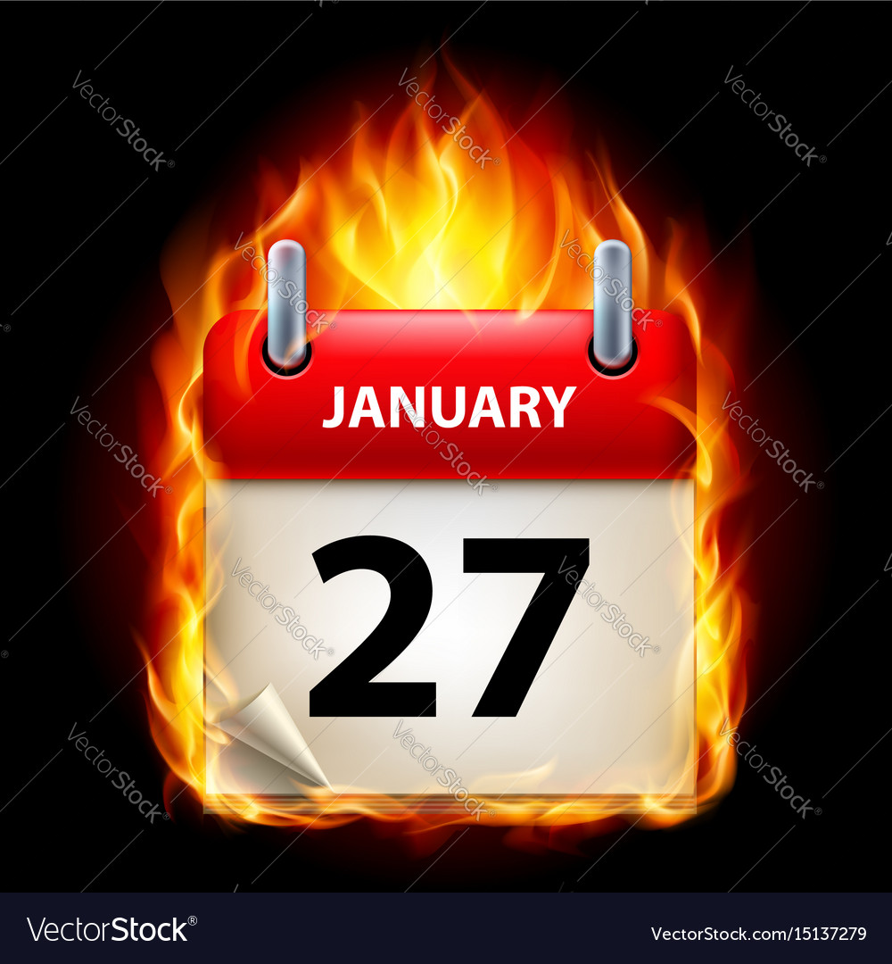 Twenty-seventh january in calendar burning icon