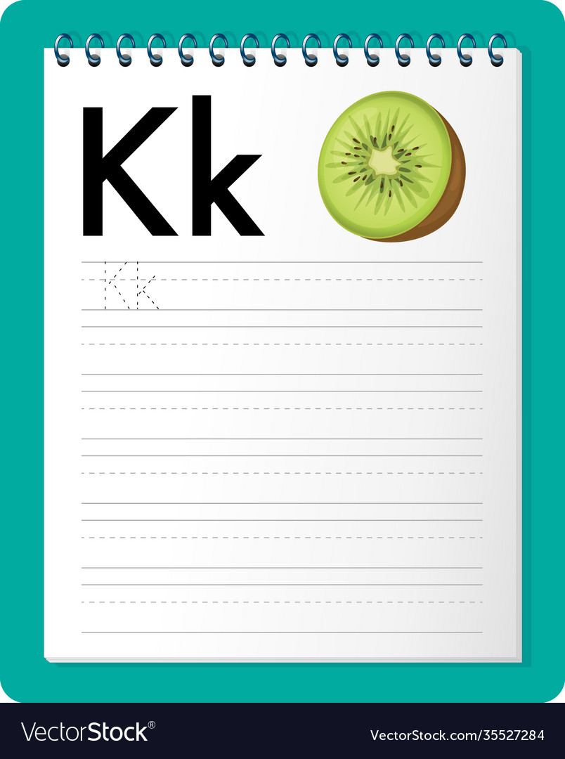 Alphabet tracing worksheet with letter k and k