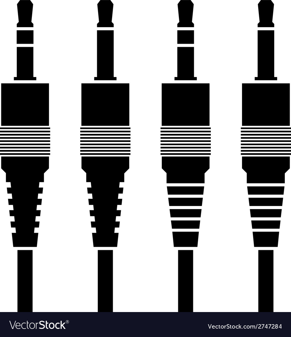 Audio Jack Connector Black Symbols Royalty Free Vector Image