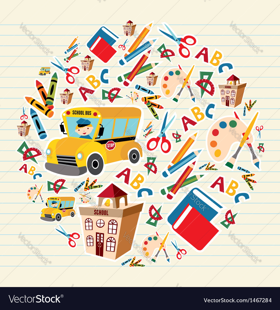 Back to school supplies circle vector image