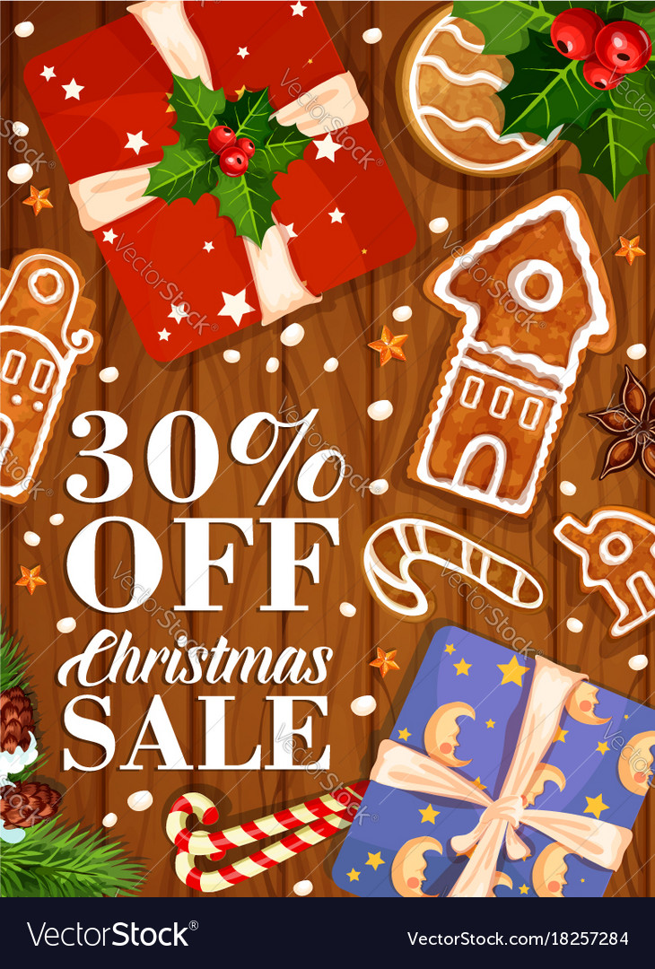 Christmas sale winter holiday gifts poster Vector Image