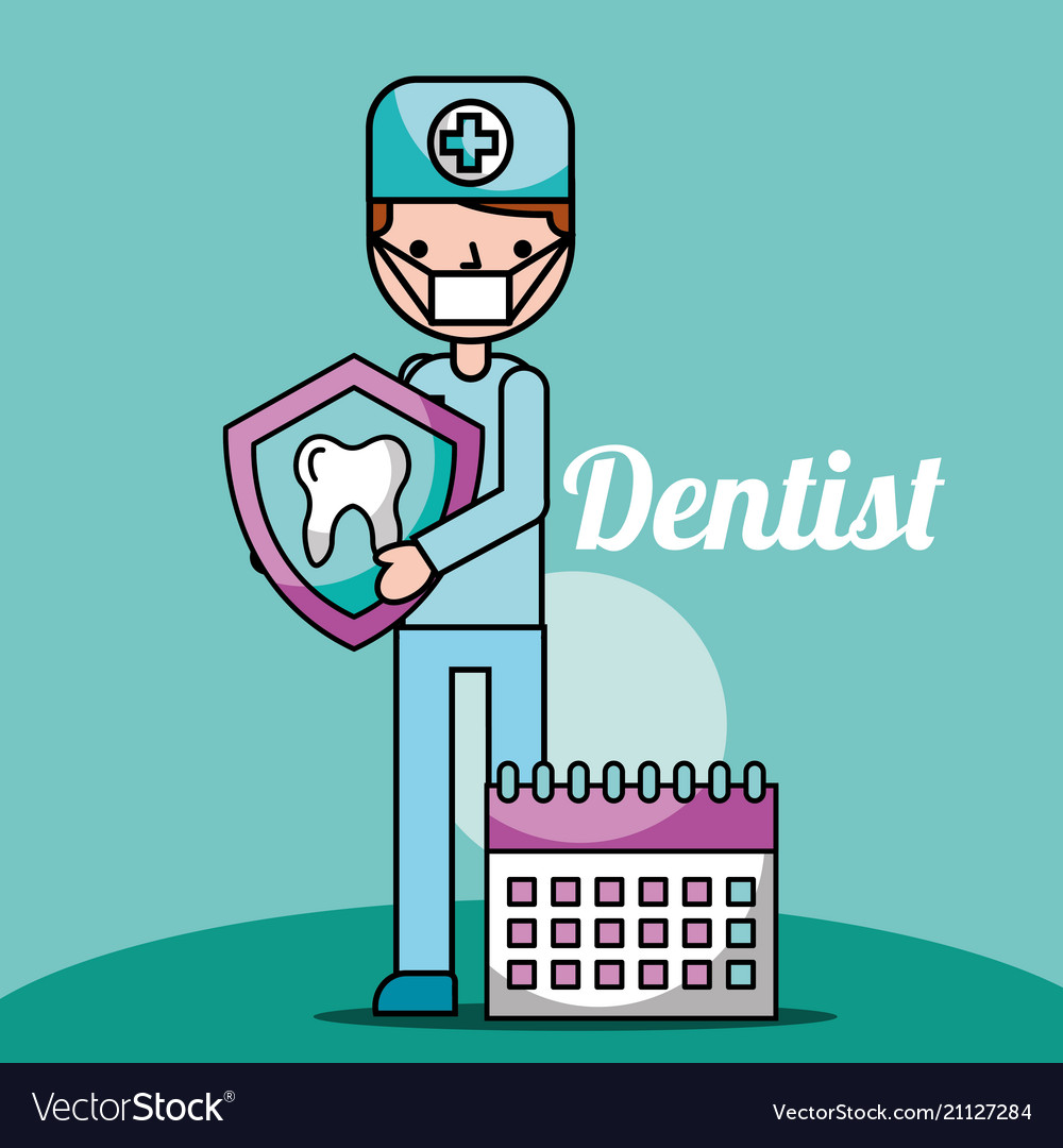 Dentist boy cartoon holding tooth and planning