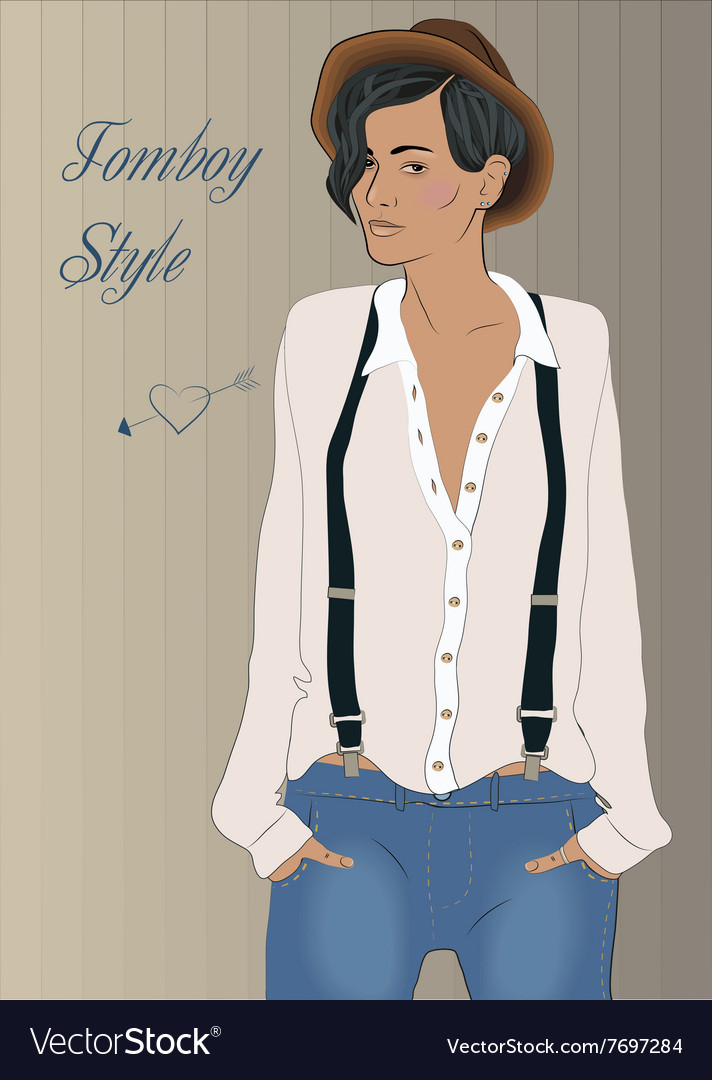 girl in the style of tomboy royalty free vector image