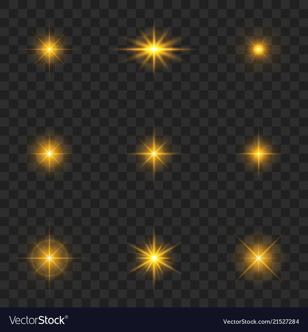 Gold light effect starburst with sparkles