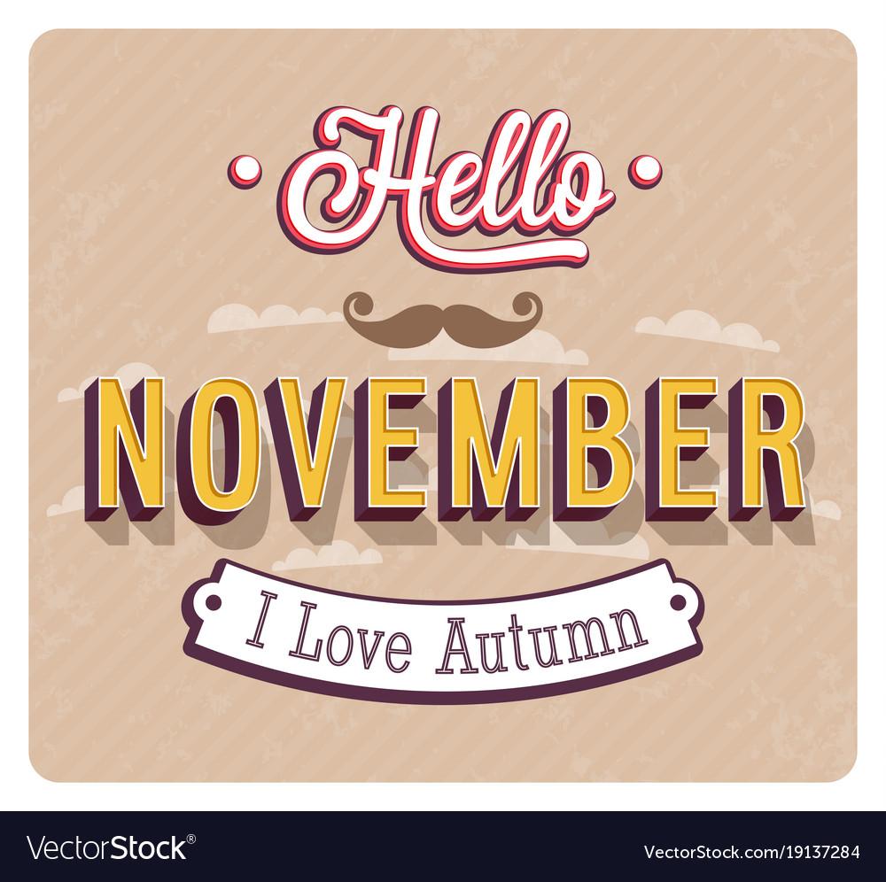 Hello november typographic design