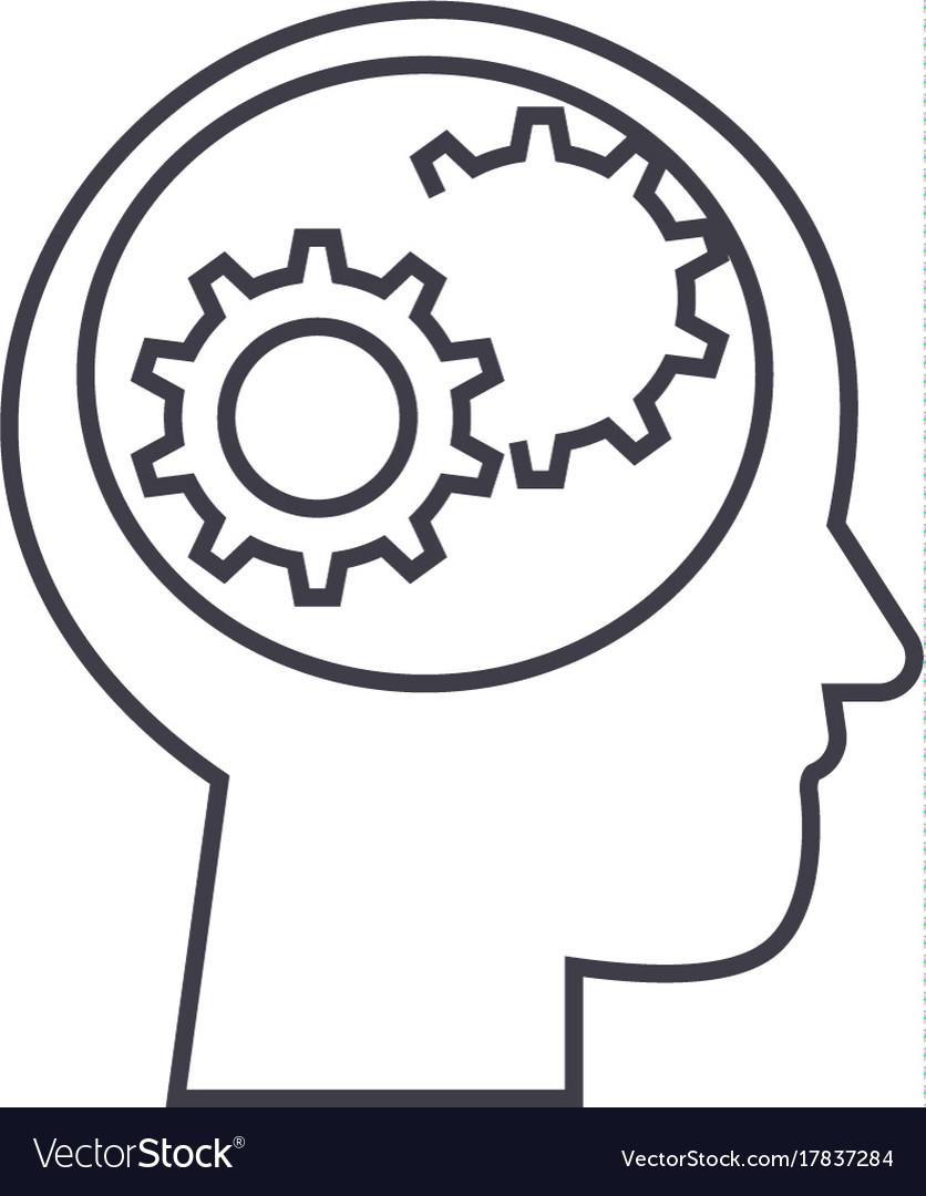 Human head with gears line icon sign