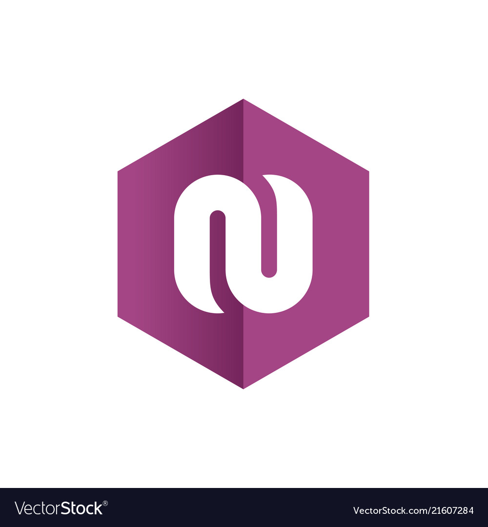 Letter n symbols combined with purple hexagon