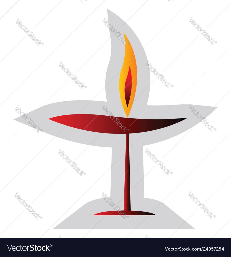 Red unitarian religion symbol on a white