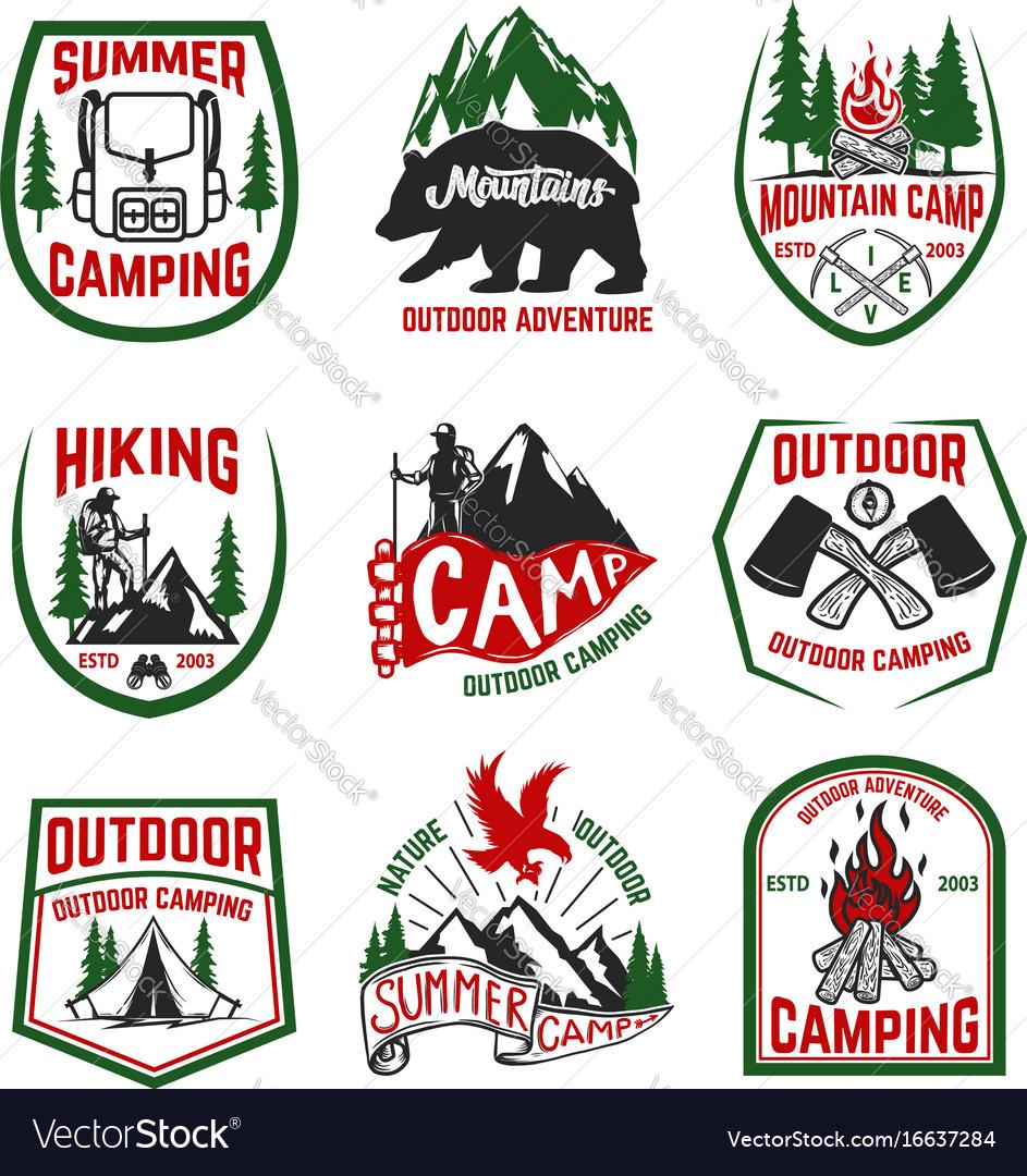 Set camping hiking mountains outdoor emblems