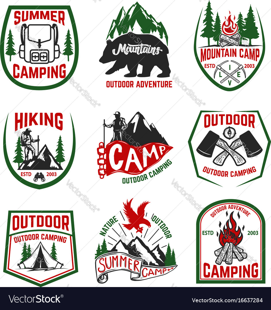 Set of camping hiking mountains outdoor emblems