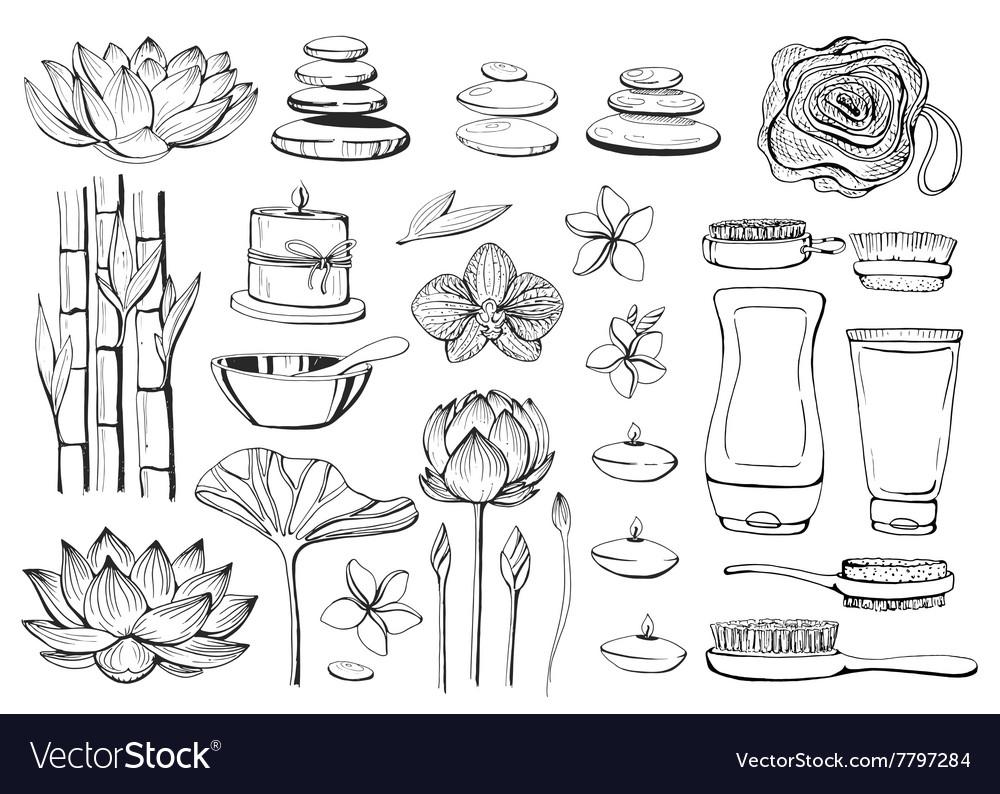 Set of hand drawn elements spa