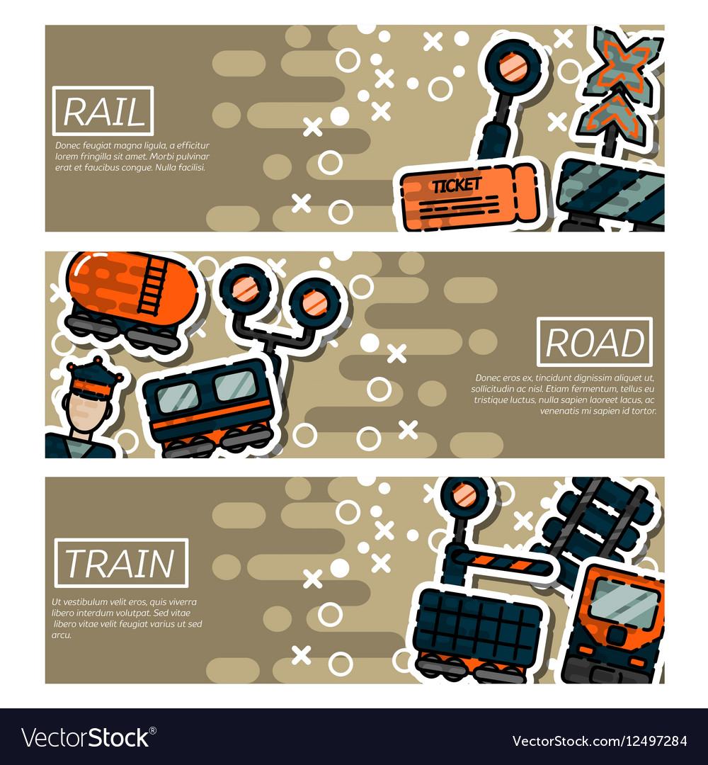 Set of Horizontal Banners about railroads