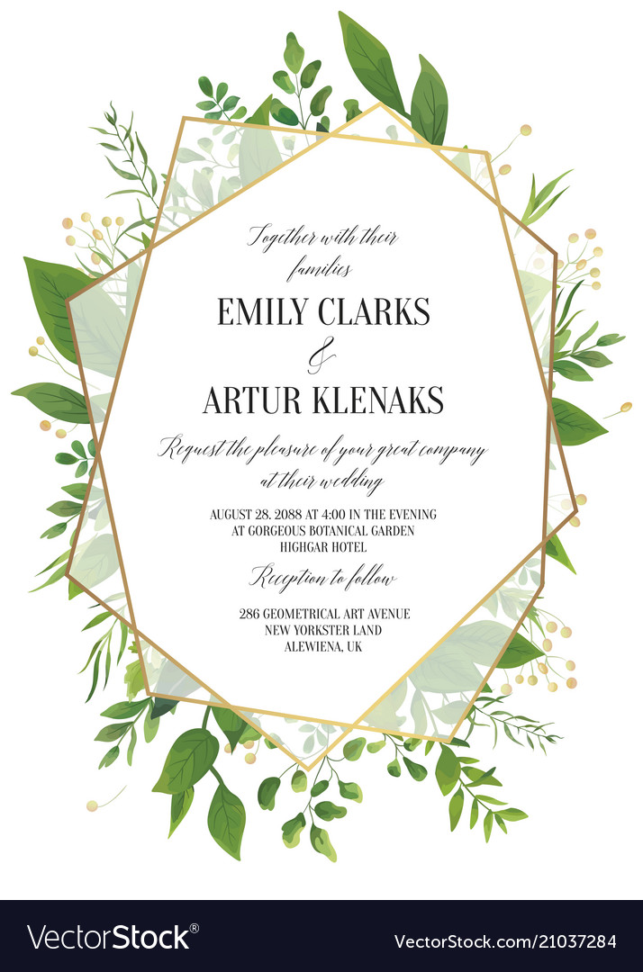 Wedding Floral Greenery Invitation Invite Card