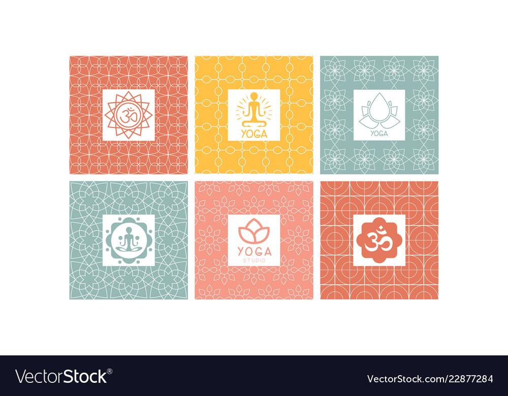 Yoga studio logo set creative design element for