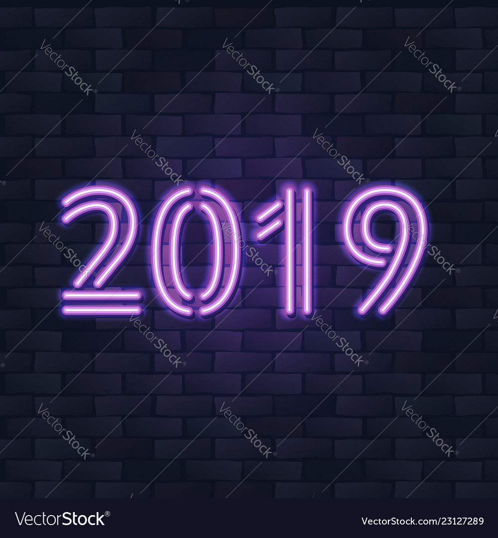 2019 new year concept with colorful neon lights