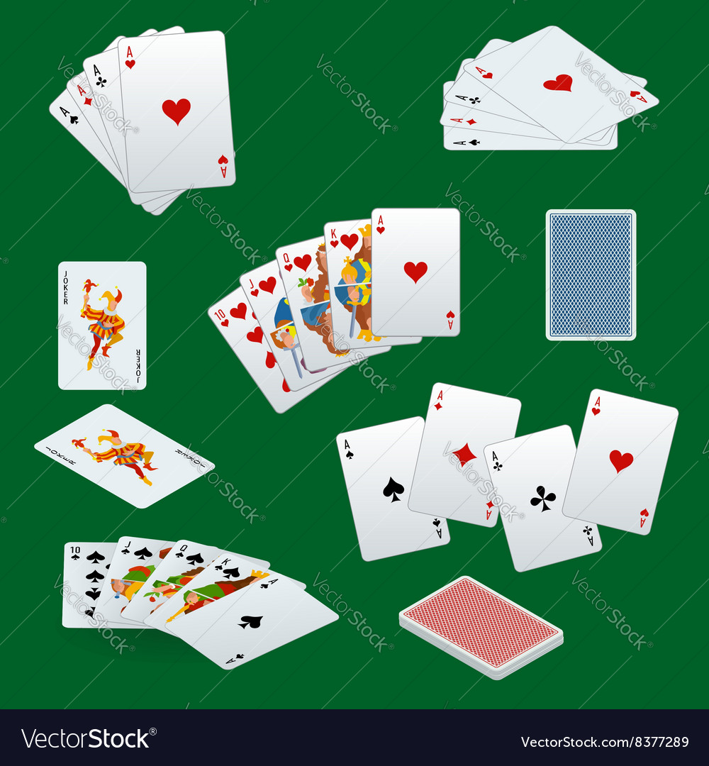 A royal straight flush playing cards poker hand in