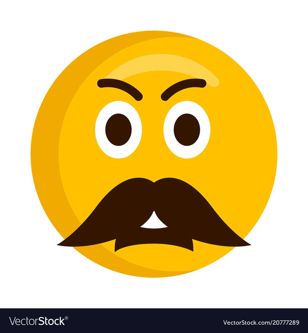 angry emoji with a mustache royalty free vector image