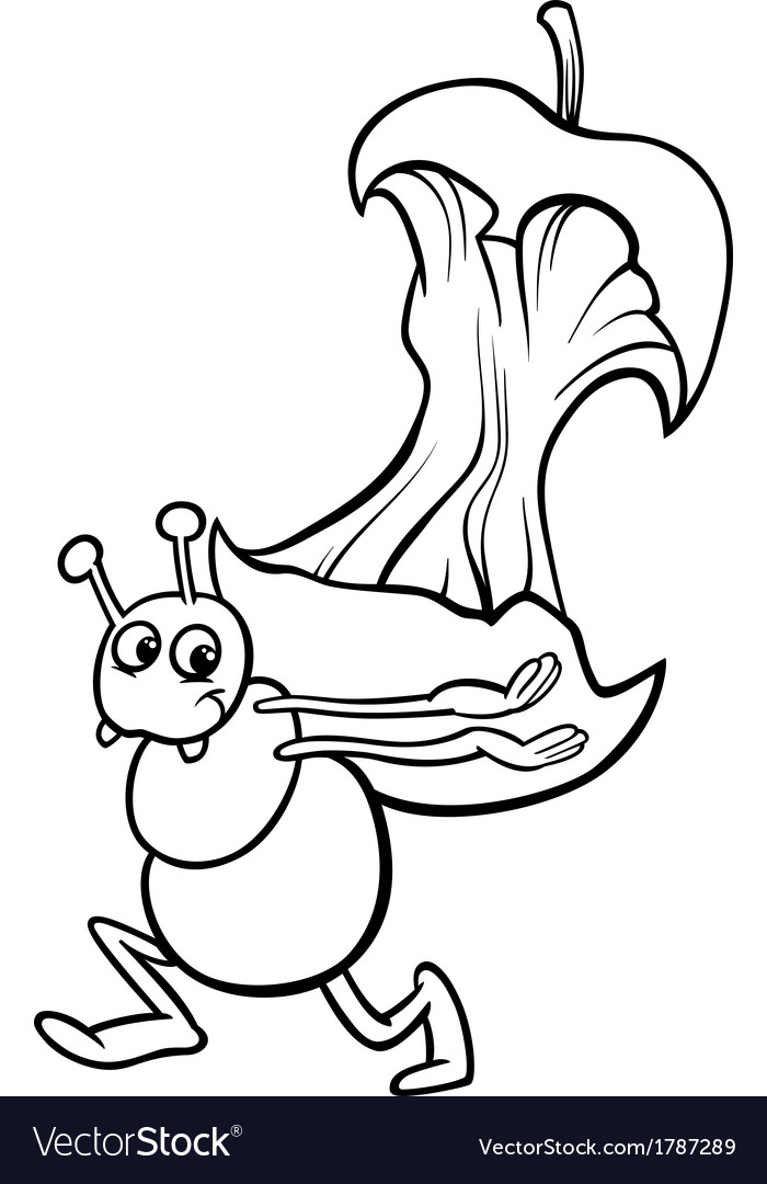 Ant with apple core coloring page