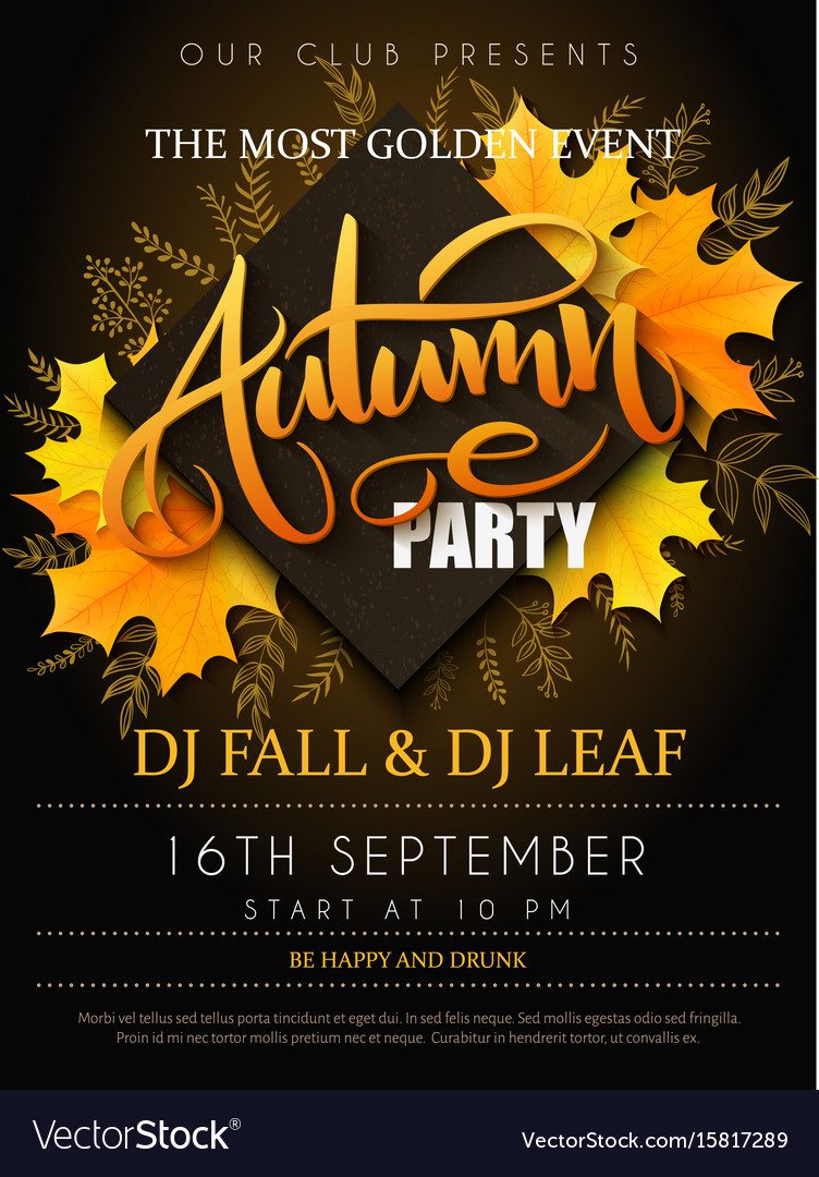 Autumn party poster with lettering yellow