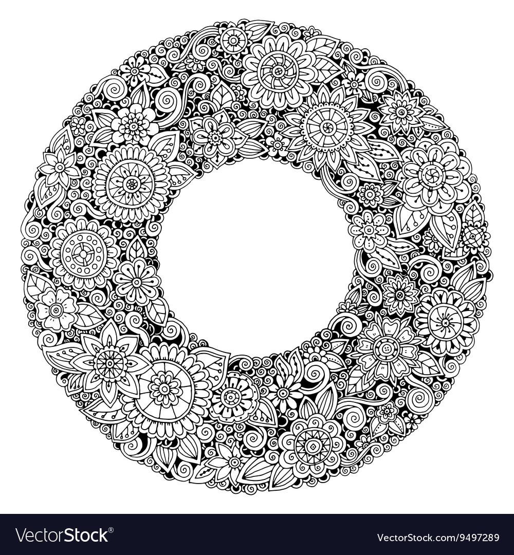 Black and white mandala flower ornament
