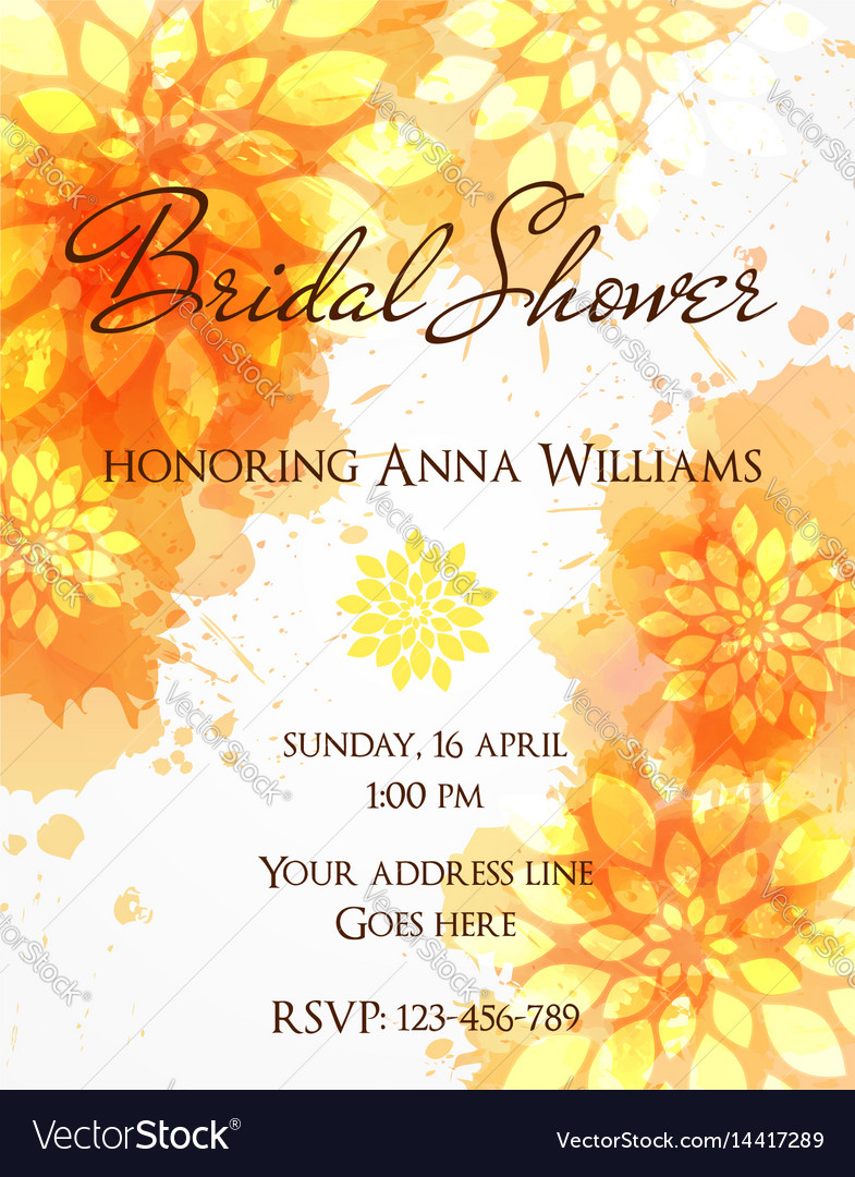 Bridal shower invitation template vector image