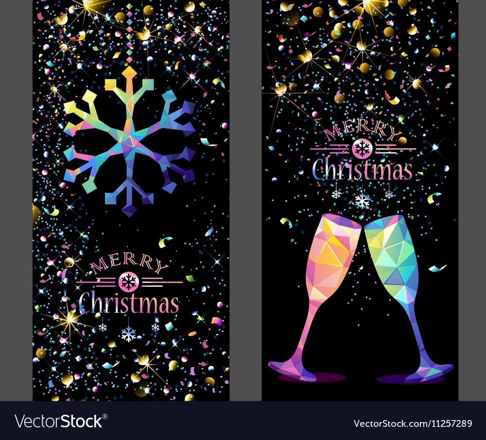 Christmas card with color Snowflake and Champagne