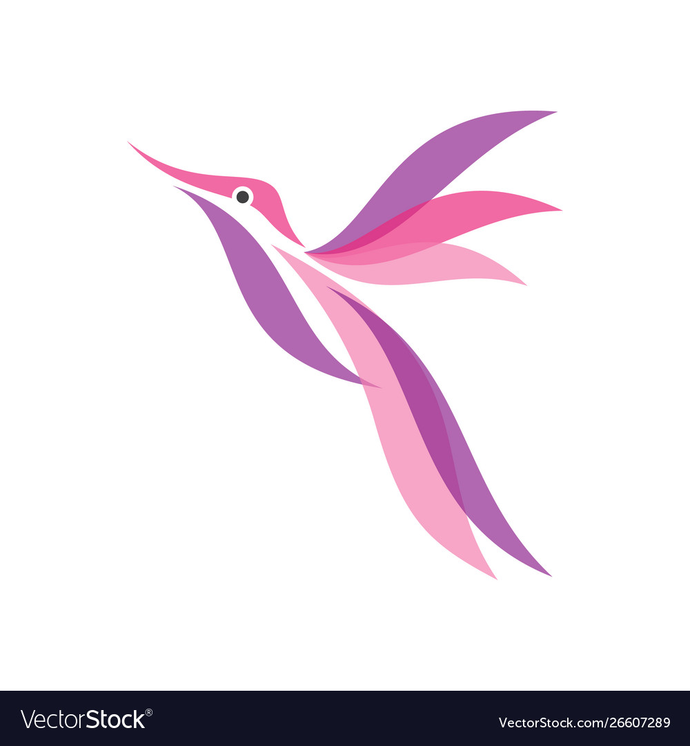 Colorful hummingbird icon in modern flat style