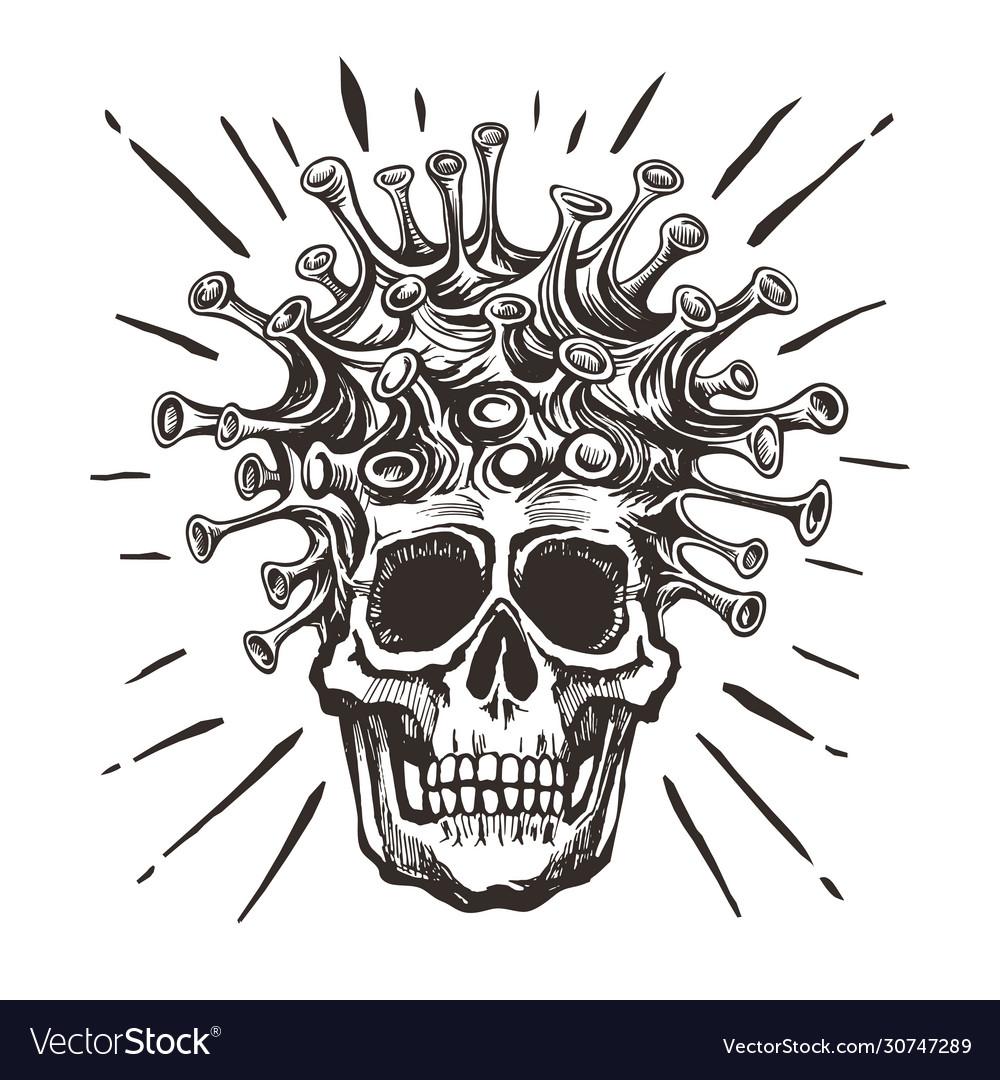 Covid19-19 - virus - human skull hand drawn black